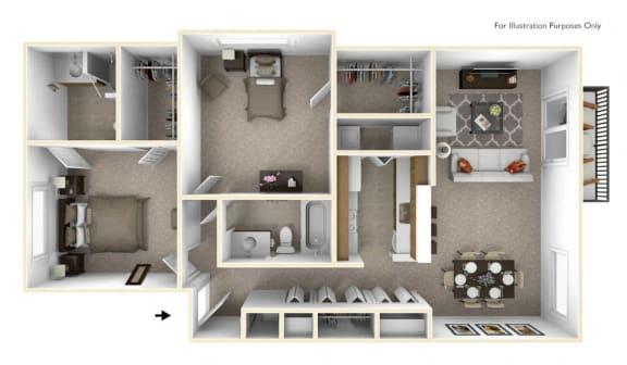 2-Bed/2-Bath, Poinsettia Floor Plan at The Springs Apartment Homes, Novi, MI, 48377