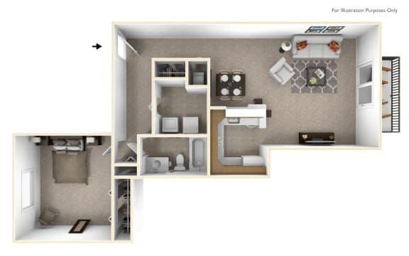1-Bed/1-Bath, Malva Floor Plan at The Springs Apartment Homes, Novi, MI, 48377