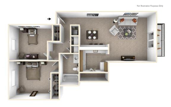 2-Bed/1-Bath, Violet Floor Plan at The Springs Apartment Homes, Novi