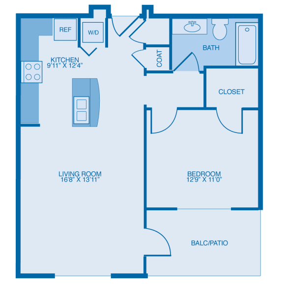 Bowler One Bedroom Floor Plan at Marble Alley Lofts, Knoxville, 37902