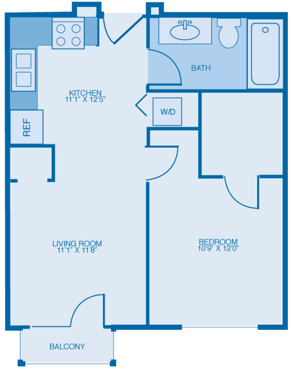 Mica One Bedroom Floor Plan at Marble Alley Lofts, Tennessee, 37902