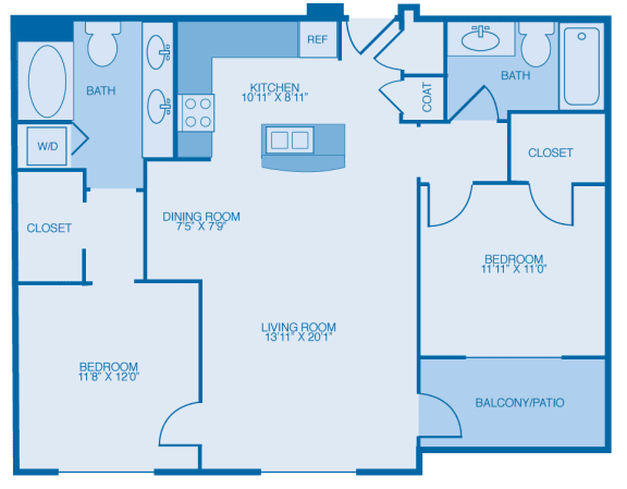 Steely Two Bedroom Floor Plan at Marble Alley Lofts, Knoxville