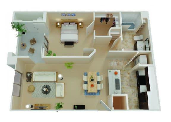 Floor Plan  One Bedroom Apartments in Chico CA l Eaton Village Apartments