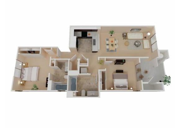 Floor Plan  Two Bedroom Apartments in Chico CA l Eaton Village Apartments