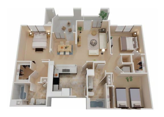 Floor Plan  Three Bedroom Apartments in Chico CA l Eaton Village Apartments