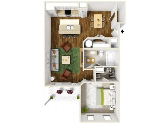 Floor Plan  Sonoma Pointe One Bedroom Floor Plan
