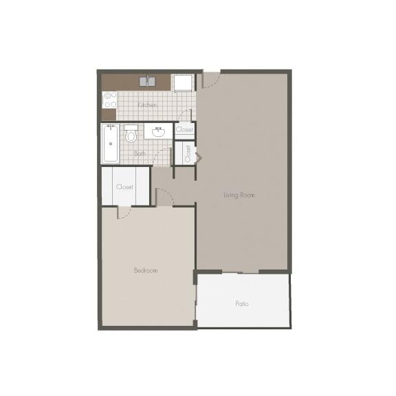 Floor Plan  Mojave 1BR/1BH Floor plan at Desert Creek, Albuquerque, NM 87107