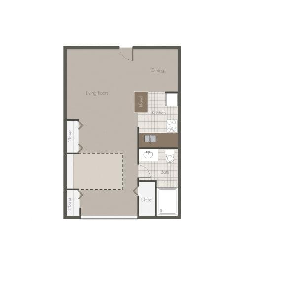 Floor Plan  Sonoran Studio Floor plan at Desert Creek, Albuquerque, 87107