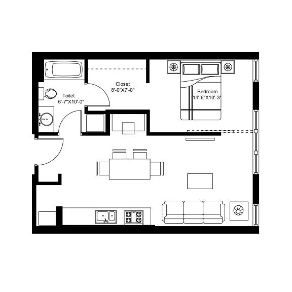 C – 1 Bedroom 1 Bath Floor Plan Layout – 624 Square Feet