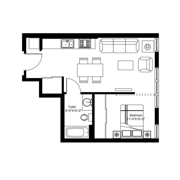 E – 1 Bedroom 1 Bath Floor Plan Layout – 501 Square Feet