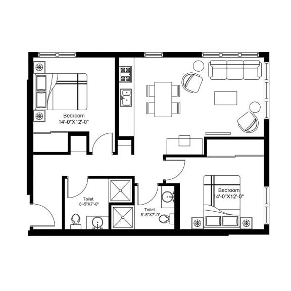 F – 2 Bedroom 2 Bath Floor Plan Layout – 839 Square Feet