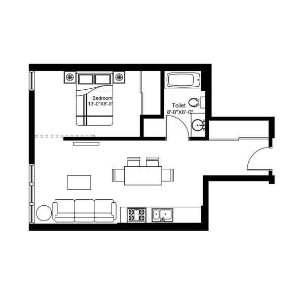 P – 1 Bedroom 1 Bath Floor Plan Layout – 590 Square Feet