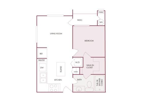 Enclave at Cherry Creek A1 1 bedroom floor plan 2D
