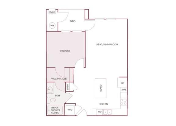 Enclave at Cherry Creek A2 1 bedroom floor plan 2D