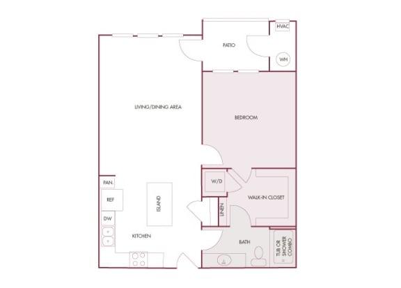 Enclave at Cherry Creek A3 1 bedroom floor plan 2D