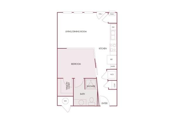 Enclave at Cherry Creek A studio floor plan 2D