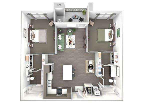 Enclave at Cherry Creek B2 2 bedroom floor plan 3D