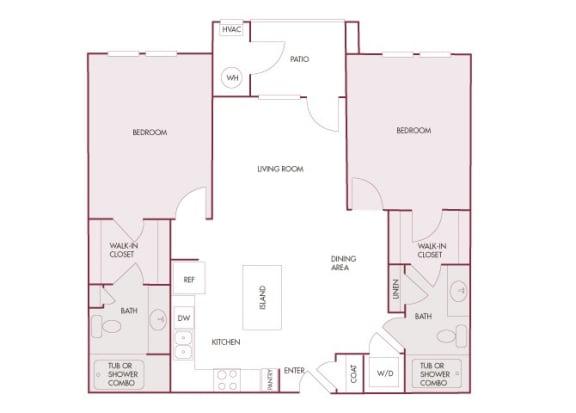 Enclave at Cherry Creek B2 2 bedroom floor plan 2D