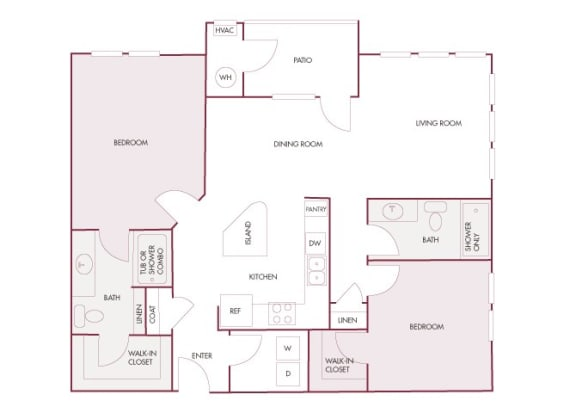 Enclave at Cherry Creek B3 2 bedroom floor plan 2D