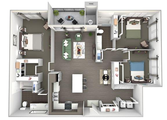 Enclave at Cherry Creek C1 3 bedroom floor plan 3D