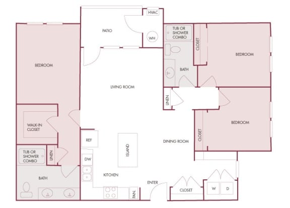 Enclave at Cherry Creek C1 3 bedroom floor plan 2D