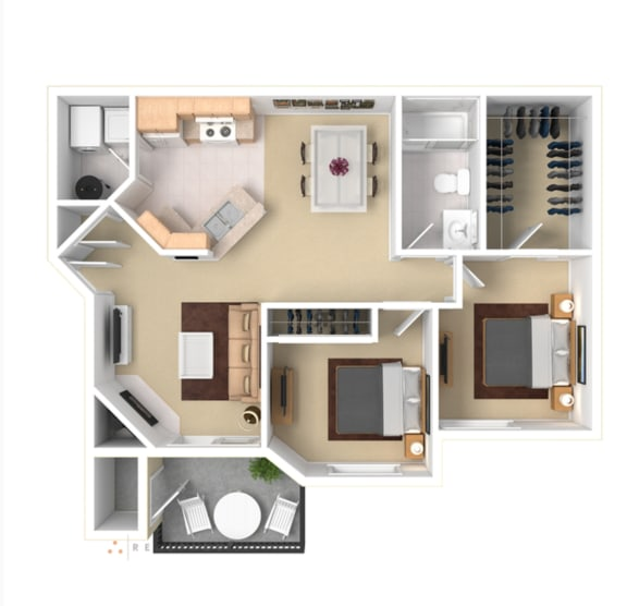 2 Bedroom Floor Plan Apartment For Rent in Gresham OR 97080 l The Arden