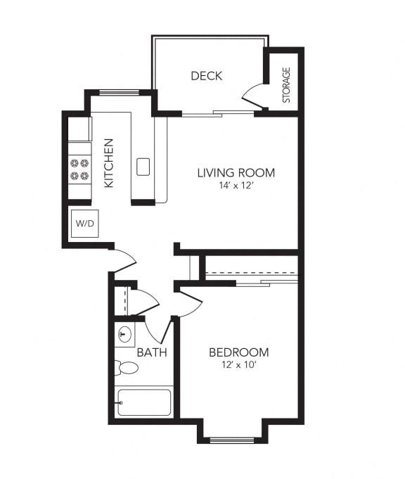 Omak – 1 Bedroom 1 Bath Floor Plan Layout – 600 Square Feet