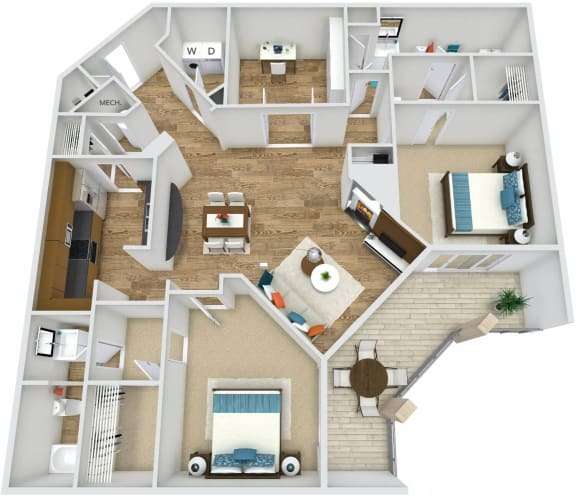 Floor Plan B5 at Rose Heights apartment Raleigh, NC