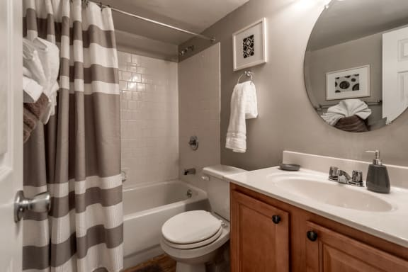 Master Bath with Soaking Tub with Tile Surround at The Brook at Columbia, Maryland, 21044