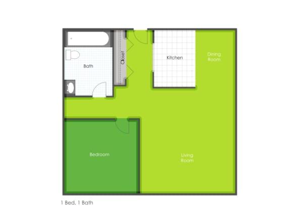 1 bedroom floorplan layout