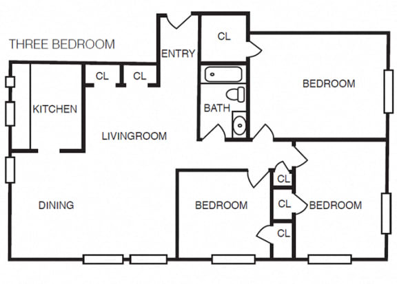 The Crestmont - C1 - 3 bedroom and 1 bath