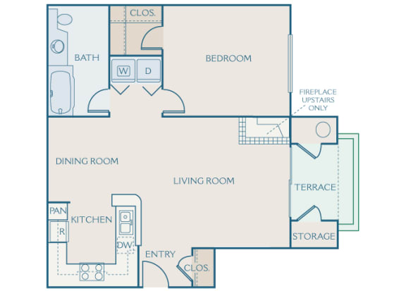 Preserve at Blue Ravine floor plan - Willow - A1 - 1 bed 1 bath - 2D