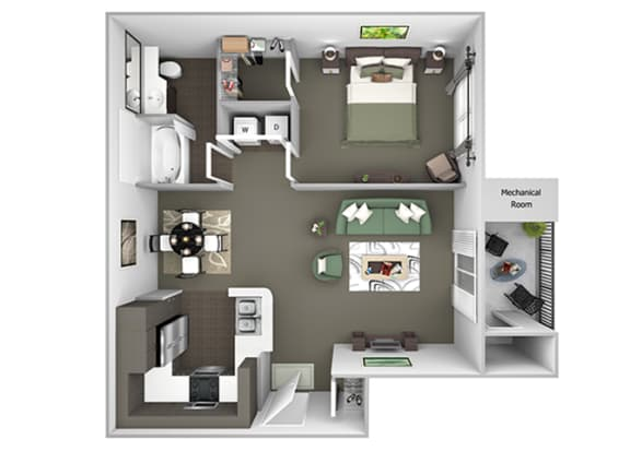 Preserve at Blue Ravine floor plan - Willow - A1 - 1 bed 1 bath - 3D