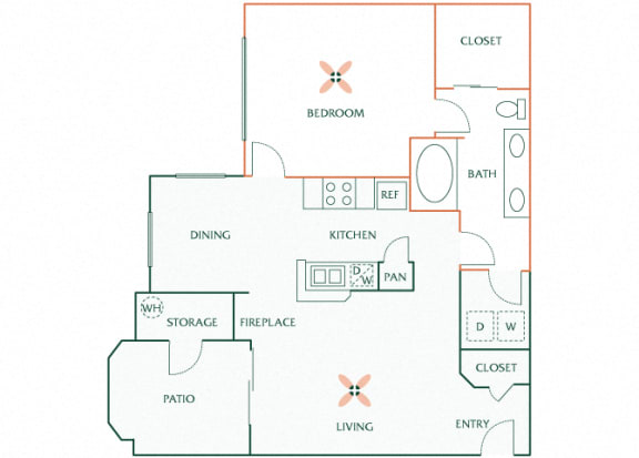 Sonterra Apartments at Paradise Valley - A2- Pearl - 1 bedroom - 1 bath