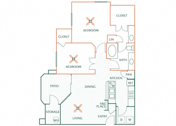 Sonterra Apartments at Paradise Valley - B1 (Emerald) - 2 bedroom and 1 bath