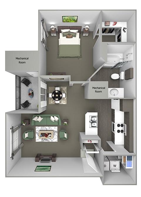 Grand Centennial Floor Plan A1 Eagle's Nest - 1 bedroom 1 bath - 3D