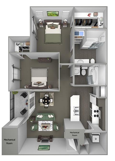 Grand Centennial Floor Plan B2 The Arapahoe - 2 bedrooms 1 bath - 3D