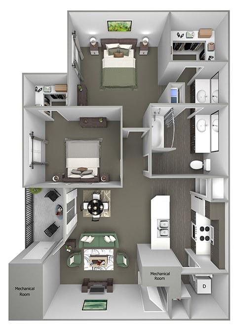 Grand Centennial Floor Plan B1 The Cimarron - 2 bedrooms 1 bath - 3D