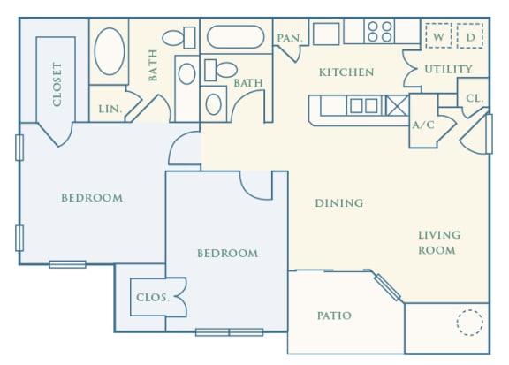 Grand Centennial Floor Plan B2 The Arapahoe - 2 bedrooms 1 bath - 2D