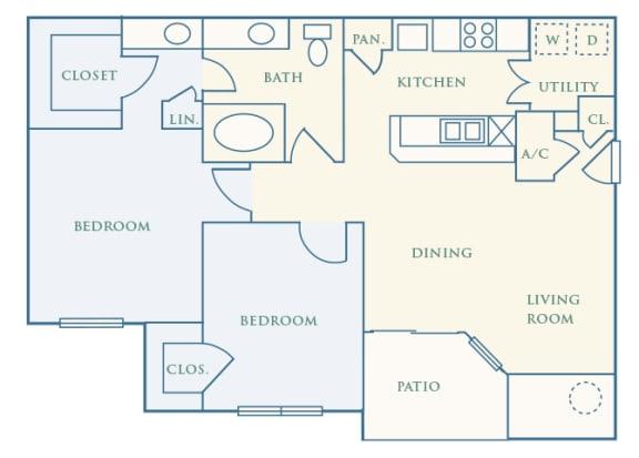 Grand Centennial Floor Plan B1 The Cimarron - 2 bedrooms 1 bath - 2D
