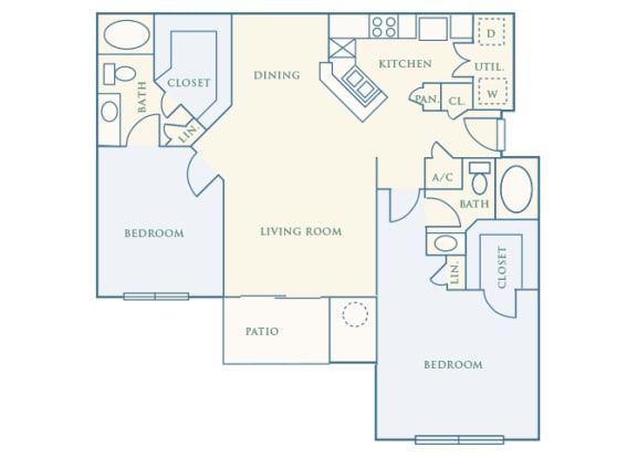 Grand Centennial Floor Plan B3 The Wakonda - 2 bedrooms 2 baths - 2D