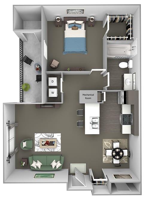 Cheswyck at Ballantyne Apartments - A1 (Abbey) - 1 bedroom and 1 bath - 3D floor plan