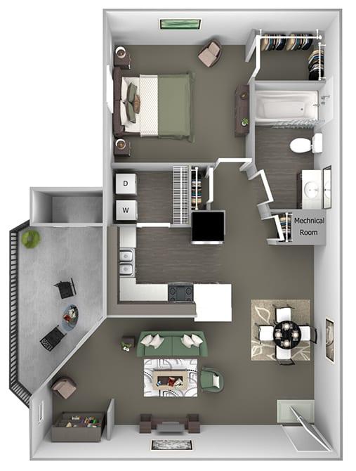 Cheswyck at Ballantyne Apartments - A4 (Ashton) - 1 bedroom and 1 bath - 3D floor plan