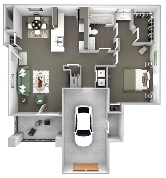 Cheswyck at Ballantyne Apartments - A5 (Auburn) - 1 bedroom and 1 bath - 3D floor plan
