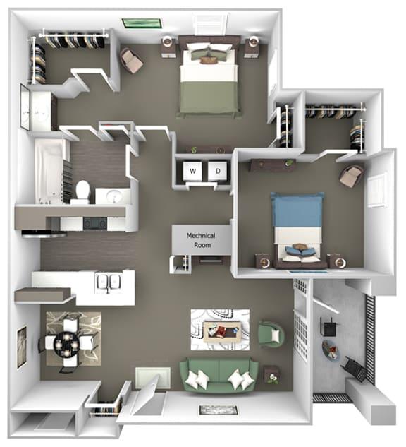 Cheswyck at Ballantyne Apartments - B1 (Bristol I & II) - 2 bedrooms and 1 bath - 3D floor plan