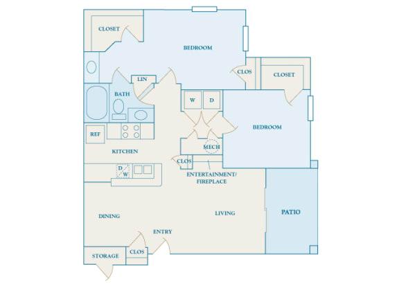 Cheswyck at Ballantyne Apartments - B1 (Bristol I & II) - 2 bedrooms and 1 bath