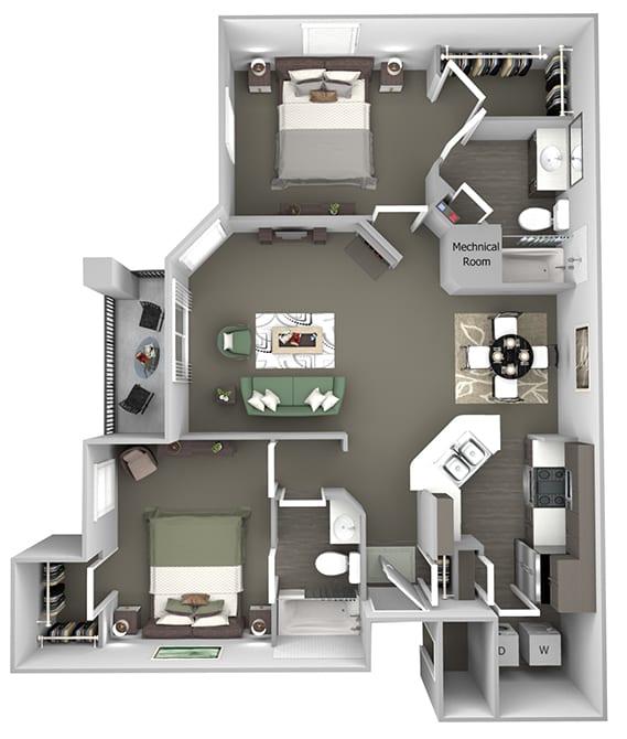 Cheswyck at Ballantyne Apartments - B2 (Canterbury) - 2 bedrooms and 2 bath - 3D floor plan