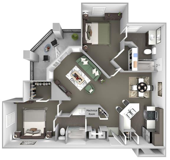 Cheswyck at Ballantyne Apartments - B3 (Carlisle I & II) - 2 bedrooms and 2 bath - 3D floor plan