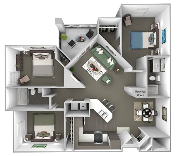 Cheswyck at Ballantyne Apartments - C1 (Durham) - 3 bedrooms and 2 bath - 3D floor plan