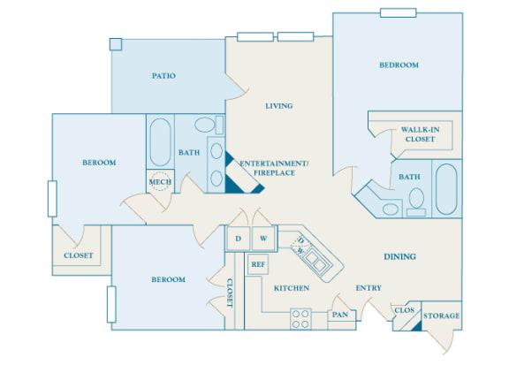 Cheswyck at Ballantyne Apartments - C2 (Davidson) - 3 bedrooms and 2 bath